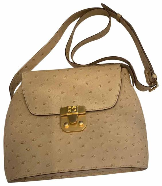 Item - Tan Ostrich Embossed Beige Leather Cross Body Bag