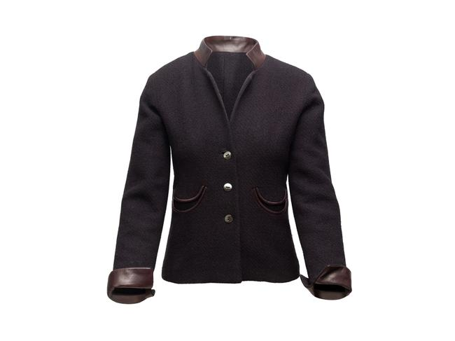 Item - Charcoal & Brown Wool Jacket Size 4 (S)