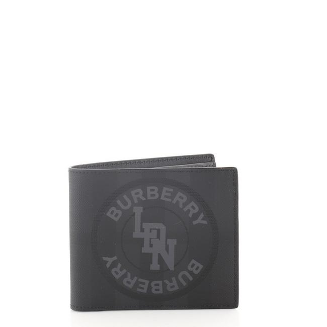 Item - Black Logo Graphic Bifold London Check Coated Canvas Compact Wallet