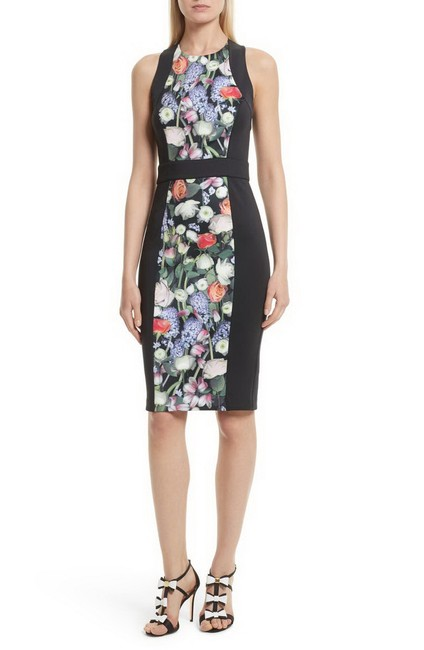 Item - Black Kensington London Akva Floral Body-con Mid-length Night Out Dress Size 2 (XS)