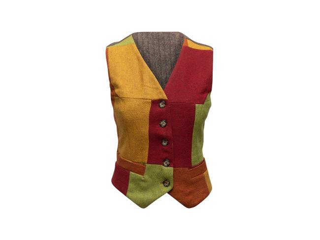 Item - Red & Multicolor J&ans Patchwork Vest Size 4 (S)