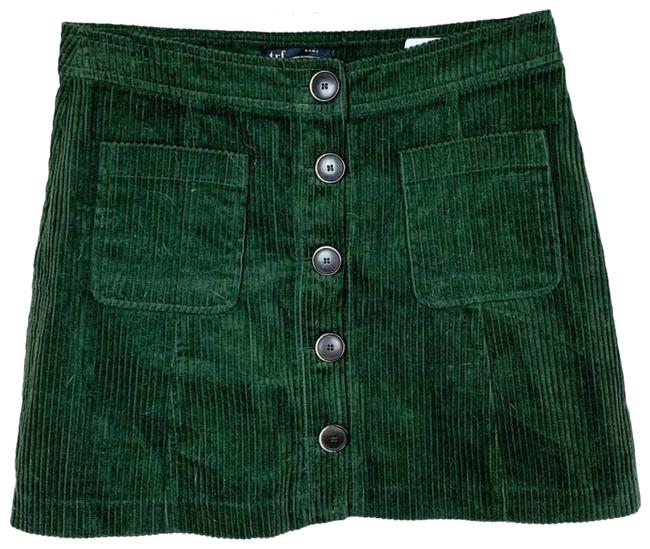 Item - Green XS Corduroy Button Front A-line Skirt Size 0 (XS, 25)