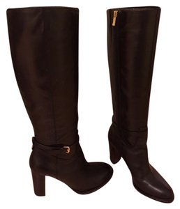Ivanka Trump Leather Gold Hardware Black Boots
