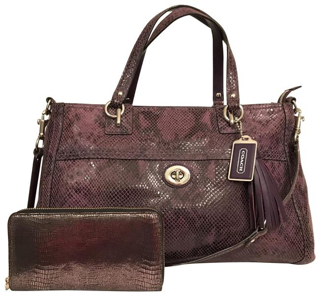 Item - Carryall Park Python F24384 & Nwot Deux Lux Wallet Purple Silver Leather Satchel