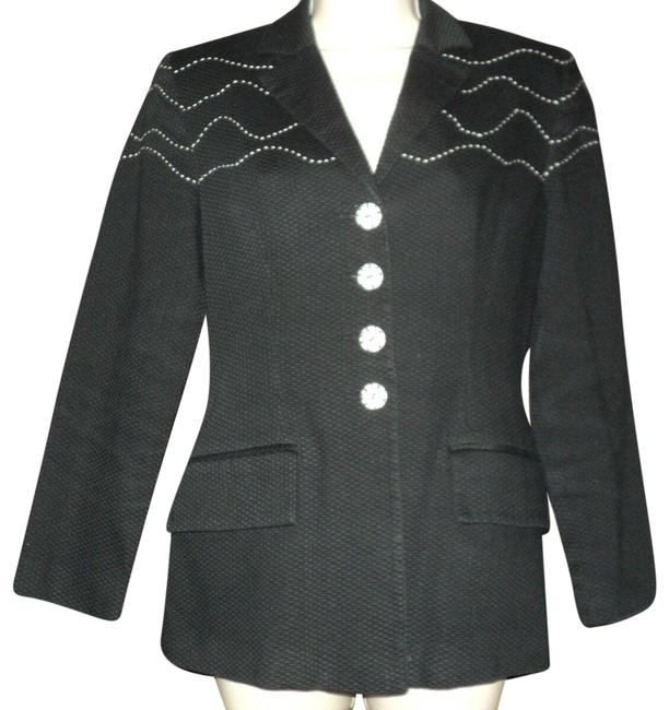 Item - Light Black Cotton Off-white Top Stitching Accents Notched Collar Lined Blazer Size 6 (S)