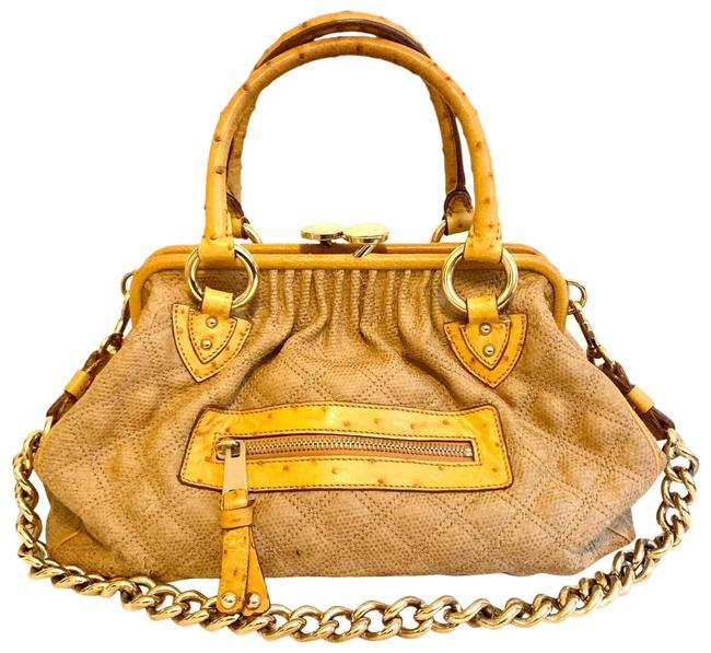 Item - Limited Edition Limited Edition Stam Quilted Junta with Ostrich Handle Yellow Canvas Satchel