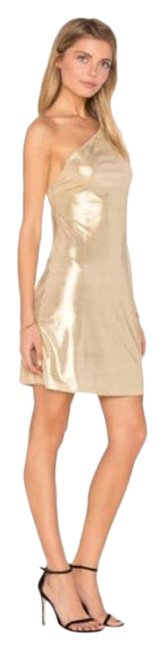 Item - Gold Kate Metallic One Shoulder Small Night Out Dress Size 6 (S)