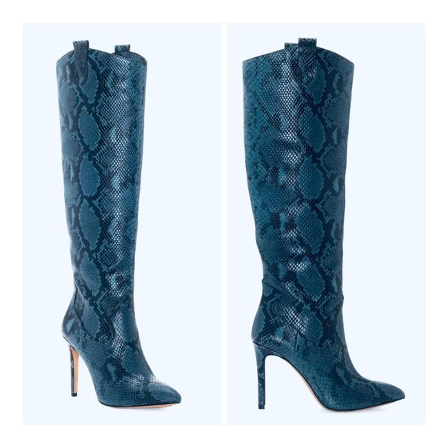 Item - Blue/Black Leather Snakeskin Boots/Sz:5/New Boots/Booties Size US 5 Regular (M, B)