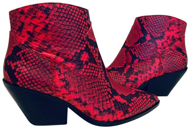 Item - Red/Black Snakeskin Bootie/Sz:7/Nwt Boots/Booties Size US 7 Regular (M, B)