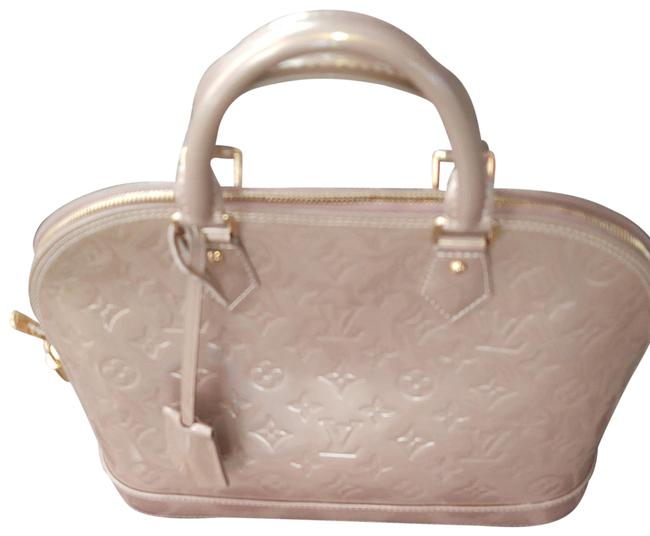 Item - Alma Lv Empriente Mm Pearly Gold Leather Satchel