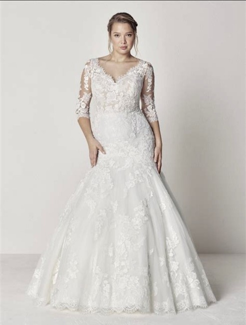 Item - Off White/Nude/Crystal Lace Evelyn Traditional Wedding Dress Size 20 (Plus 1x)