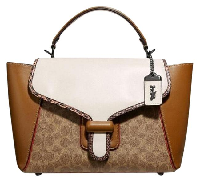 Item - Courier Carryall In Colorblock Signature Canvas with Snakeskin Detail Pewter/Tan Chalk Multi Leather Satchel