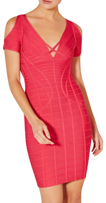 Item - Red Kyle Novelty Bandage Bodycon Bright Rose Color New Short Night Out Dress Size 8 (M)