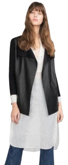 Item - Black Faux with Sheer Sleeve Jacket Size 6 (S)