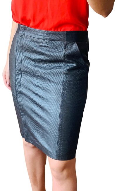 Item - Green Leather Snake Print Pencil Skirt Size 4 (S, 27)