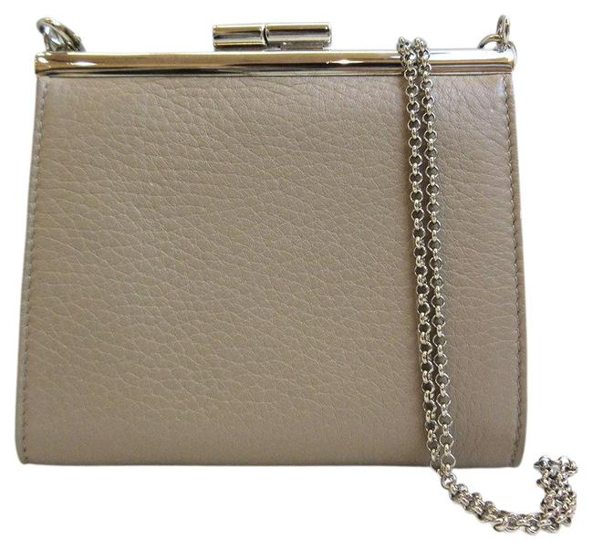 Item - Beige Chain Coin Purse Gamaguchi Ladies Leather Wallet