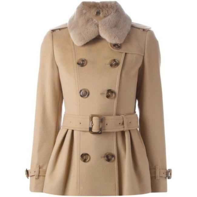 Item - Tan/Brown Trim Cashmere Belted Coat Size 6 (S)