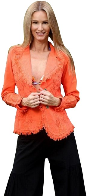 """Item - Coral Organic Cotton Embroidered """"Tahiti"""" Cottage Chic Jacket Size 20 (Plus 1x)"""