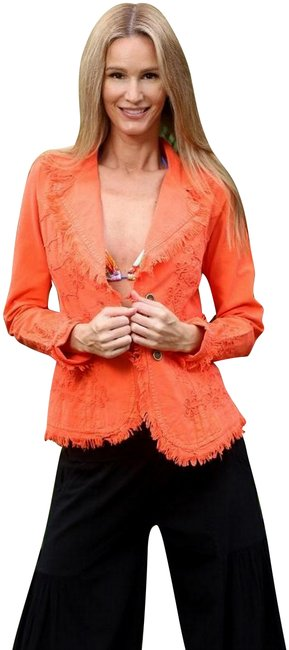 """Item - Coral Organic Cotton Embroidered """"Tahiti"""" Cottage Chic Jacket Size 8 (M)"""