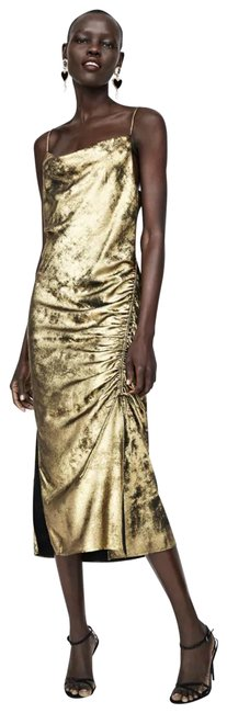 Zara Gold Metallic Ruched Midi Mid-length Cocktail Dress Size 0 (XS) Zara Gold Metallic Ruched Midi Mid-length Cocktail Dress Size 0 (XS) Image 1