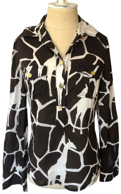 Item - Brown and Ivory Giraffe Print Cotton Half Button Down Blouse Size 2 (XS)