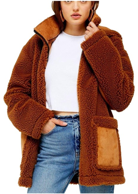 Item - Brown Teddy Borg Faux Sherpa Jacket 4-6 Coat Size 6 (S)