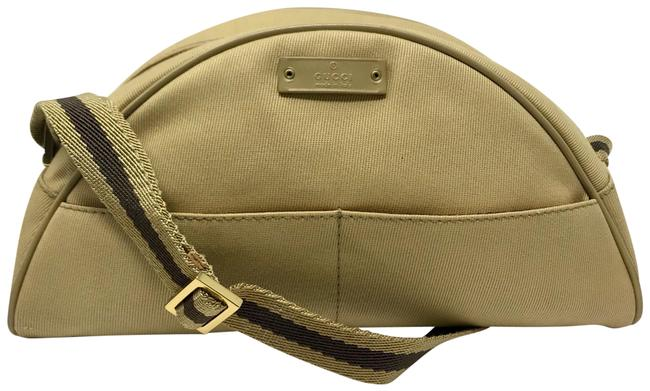 Item - Tan & Brown Domed Zip-top Pouch Cosmetic Bag