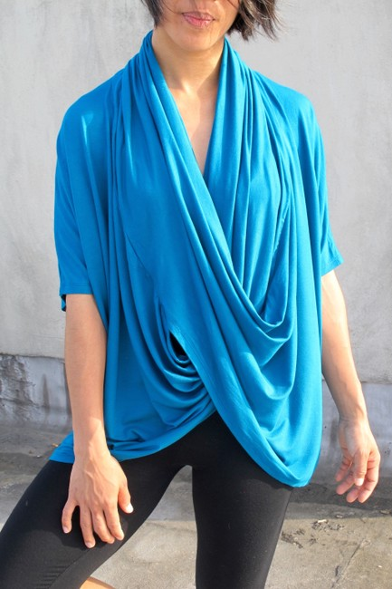 Other short dress Turquoise Draped Hooded Top Drape Top Knit Spring Summer Chic Blue Drape Drop Waist Beach Resort Stretchy Tunic Top on Tradesy