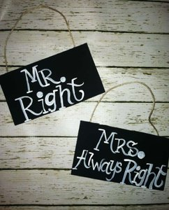 Love Always Black and White Mr. Right & Mrs. Right Signs #100 Reception Decoration