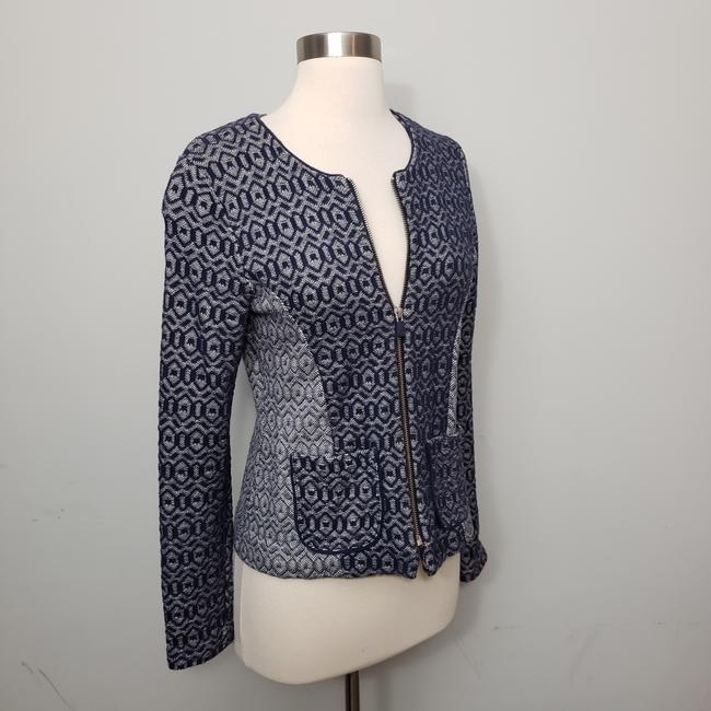 Item - Blue Geo Diamond Fitted Zip Up Jacket Size 8 (M)