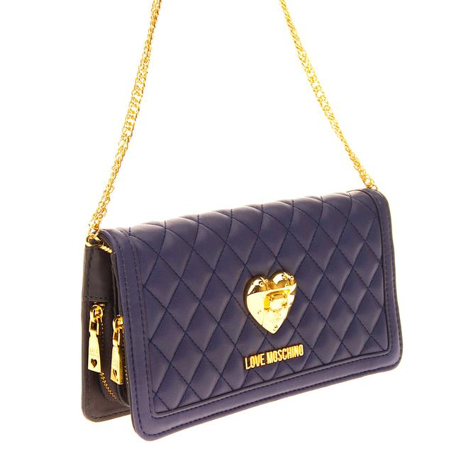 Item - Quilted Dark Blue Faux Leather Clutch