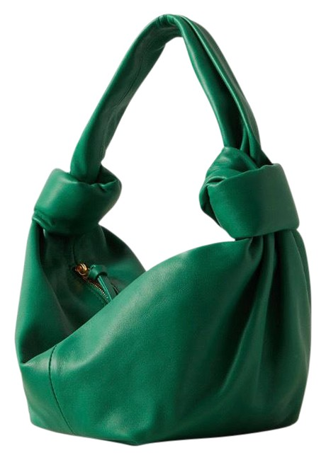 Item - Jodie Mini Knotted Leather Pouch Green Hobo Bag