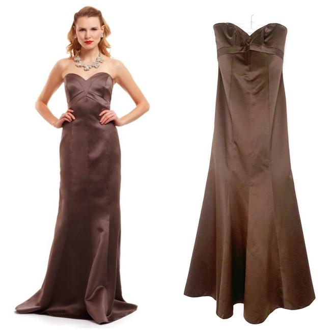 Item - Chocolate Brown Satin Sweetheart Strapless Gown Long Formal Dress Size 4 (S)
