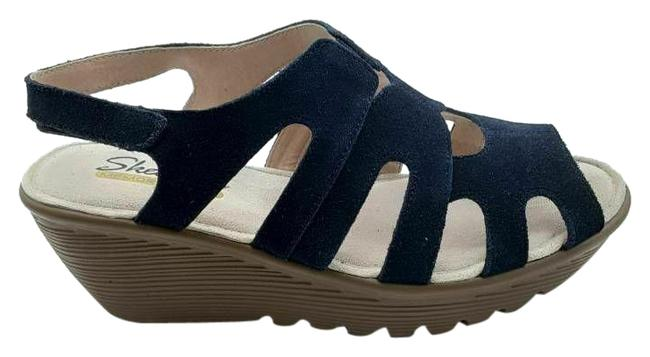 Item - Blue Womens Parallel Stylin Slingback Cut Out Wedge 8 Sandals Size US 8.5 Wide (C, D)