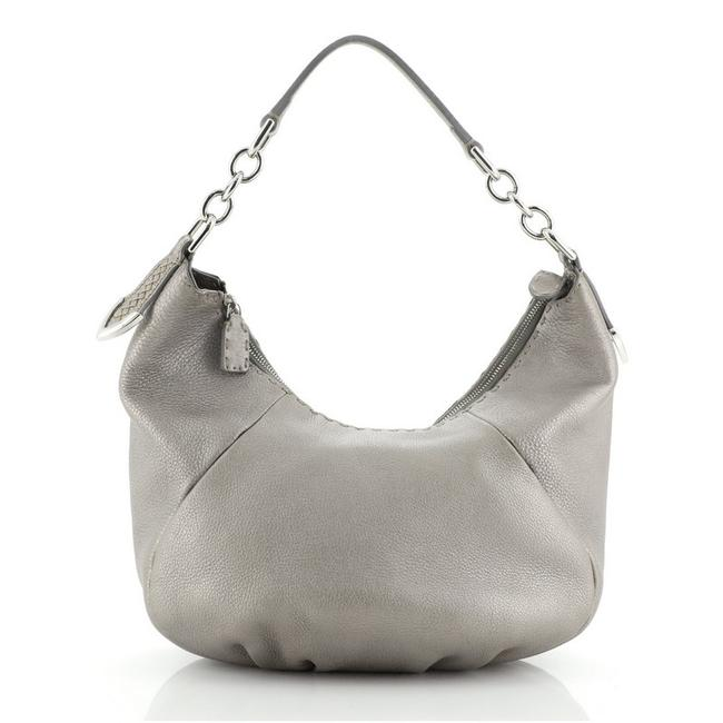 Item - Selleria Chain Small Silver Leather Hobo Bag
