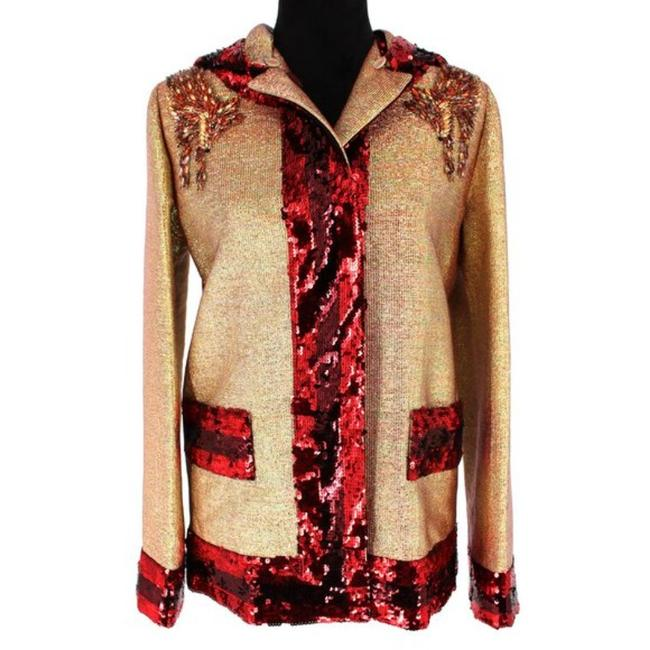Item - Gold/Red Rachel Lurex Embellished Jacket Size 00 (XXS)