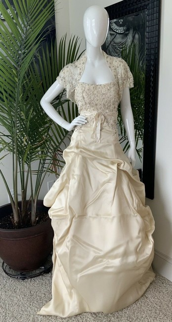 Item - Champagne Silk Organza Clementine Formal Gown Traditional Wedding Dress Size 12 (L)