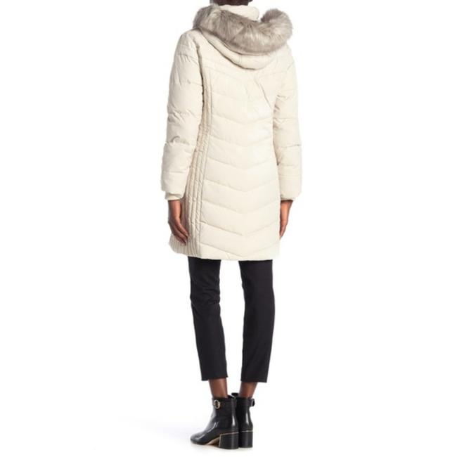 Anne Klein Ivory Faux Fur Trim Quilted In Quartz Coat Size 8 (M) Anne Klein Ivory Faux Fur Trim Quilted In Quartz Coat Size 8 (M) Image 2