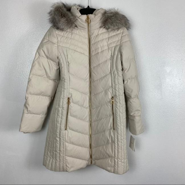 Anne Klein Ivory Faux Fur Trim Quilted In Quartz Coat Size 8 (M) Anne Klein Ivory Faux Fur Trim Quilted In Quartz Coat Size 8 (M) Image 3