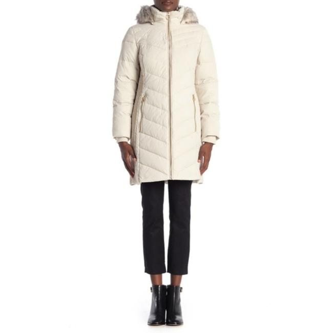 Anne Klein Ivory Faux Fur Trim Quilted In Quartz Coat Size 8 (M) Anne Klein Ivory Faux Fur Trim Quilted In Quartz Coat Size 8 (M) Image 4