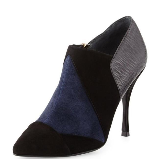 Item - Navy Black Lorelei Suede Colorblock Embossed Pointed Toe Leather Pump Boots/Booties Size US 7.5 Regular (M, B)