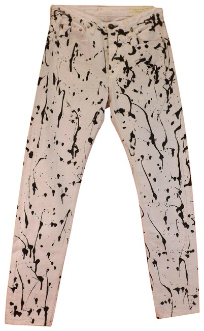 Item - White Light Wash Animal Acid Mum Abstracted Pants Usa Skinny Jeans Size 28 (4, S)