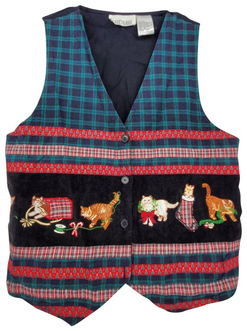 Item - Black Ugly Christmas Cat Embroidered Vest Size 8 (M)