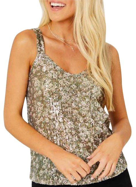 Item - Gray Gold Sequins Large Tank Top/Cami Size 12 (L)