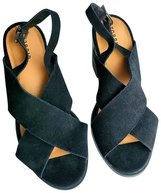 Item - Black 12w Xcross Suede Heel Slingback Sandals Size US 12 Wide (C, D)