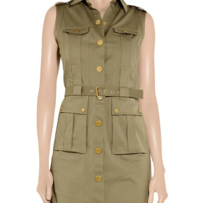 Item - Army Green Belted Patricia Stretchcotton Shirt Mid-length Work/Office Dress Size 8 (M)