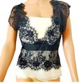 Tadashi Collection Cap Sleeve Lace Georgette Bustier Black Ivory Top Tadashi Collection Cap Sleeve Lace Georgette Bustier Black Ivory Top Image 1