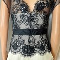 Tadashi Collection Cap Sleeve Lace Georgette Bustier Black Ivory Top Tadashi Collection Cap Sleeve Lace Georgette Bustier Black Ivory Top Image 6