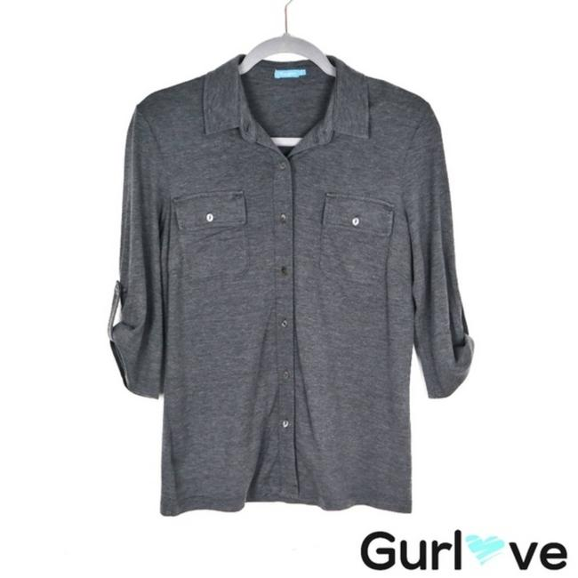 Item - Gray S Button Silk Blouse Size 4 (S)
