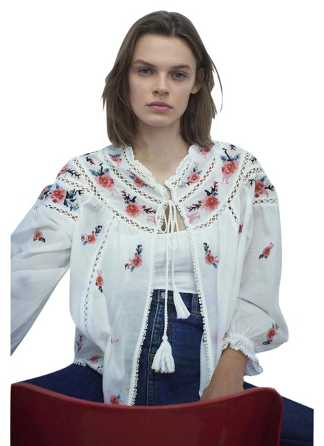Item - White/Red XS New Ecru Embroidered Shirt Peasant Top Ref 2903/060 Jacket Size 2 (XS)
